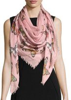 Alexander McQueen Bejeweled Butterfly Voile Scarf, Pink/Red
