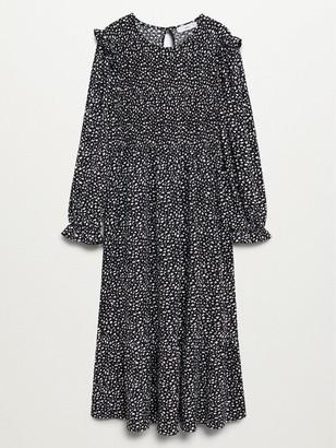 MANGO Puff Sleeve Midi Dress - Black
