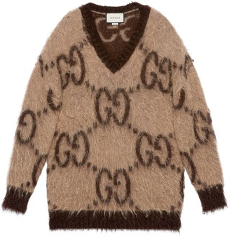 Gucci GG mohair wool V-neck sweater