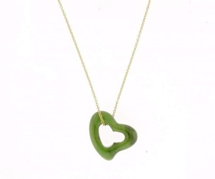 Tiffany & Co. 18K Yellow Gold & Jade Heart Pendant Necklace