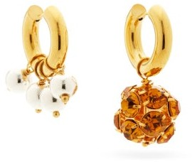 Timeless Pearly Mismatched Crystal & 24kt Gold-plated Earrings - Orange Multi