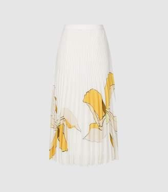 Reiss Armelle - Floral Printed Midi Skirt in Multi White