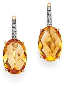 Bloomingdale's Citrine & Diamond Oval Drop Earrings - 100% Exclusive