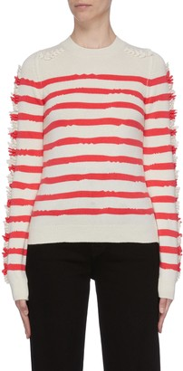 Barrie Embroidered sleeve stripe cashmere sweater