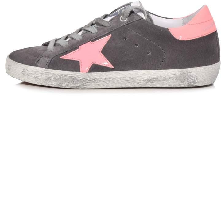 Golden Goose Superstar Sneakers in Grey Suede/Coral Star