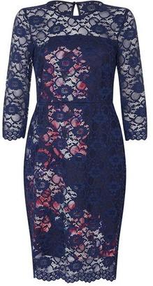 Ariella London Ariella Elzira Lace Printed Ponti Dress