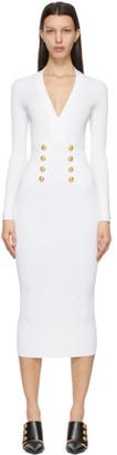 Balmain White Knit Double-Buttoned Long Dress