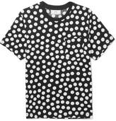 Ami Slim-fit Polka-dot Cotton-jersey T-shirt - Black