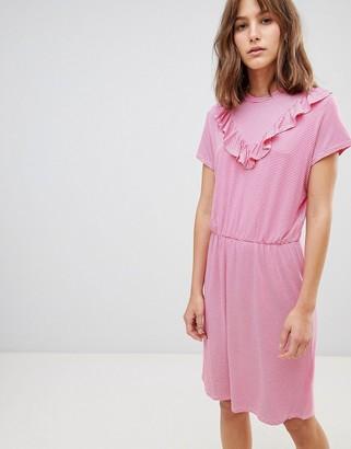 Ichi V Panel High Neck Dress-Pink