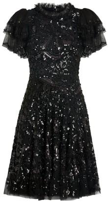 Needle & Thread Sequin-Embellished Shirley Ribbon Mini Dress