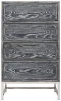 Worlds Away Upright 4-Drawer Chest, Base: Black Cerused Oak