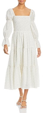 Lucy Paris Smocked Floral Print Midi Dress