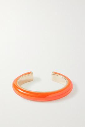 Fry Powers Unicorn Rainbow Gold And Enamel Ear Cuff - Orange