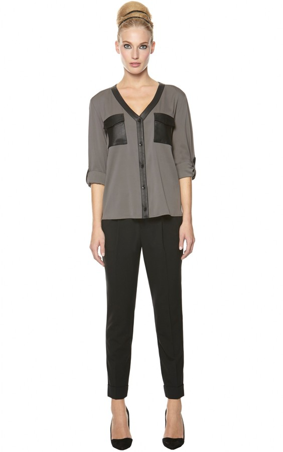 Alice + Olivia Alanna Button Down Top With Leather
