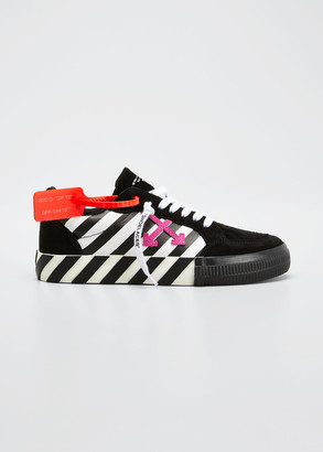 Off-White Arrow Stripe Mixed Leather Low-Top Sneakers