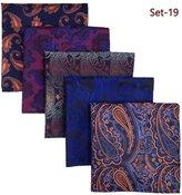 Shlax & Wing Shlax&Wing 5 Pieces Assorted Mens Pocket Square Handkerchiefs Set