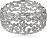 """Kenneth Jay Lane Rhodium-Plated Silver-Tone and Lace Cuff Bracelet, 9"""""""