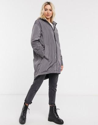ASOS DESIGN Faux fur lined raincoat in gray