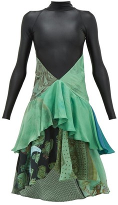 Marine Serre Upcycled Bodysuit And Silk Scarf Dress - Womens - Green Multi
