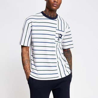 River Island Prolific grey stripe chest pocket T-shirt