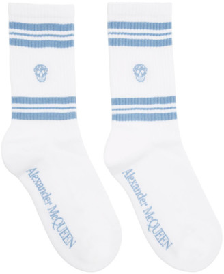Alexander McQueen White and Blue Stripe Skull Sport Socks