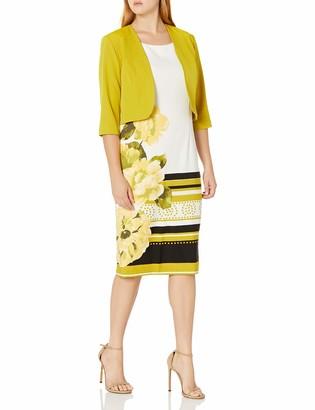Maya Brooke Women's Floral and Stripe Printed Jacket Dress