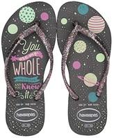 Havaianas Slim Fashion Glow in the Dark Flip-Flop (Little Kid/Big Kid) (Black) Girls Shoes