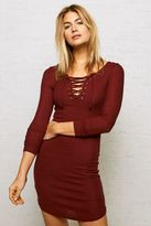 American Eagle Outfitters Don't Ask Why Ribbed Lace-Up Dress
