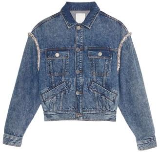Sandro Snow Embellished Denim Jacket