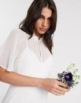 Maids To Measure Maids to Measure bridal sheer cape maxi chiffon dress