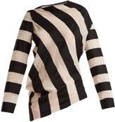 Marques Almeida MARQUES'ALMEIDA Asymmetric-hem striped cotton-blend top