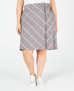 Bar III Trendy Plus Size Plaid Skirt, Created for Macy's