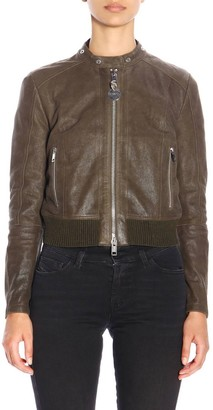 Diesel Jacket L-lyssa-g Style Biker Jacket In Leather With Zip
