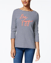 Charter Club Striped Bon Voyage Graphic Top, Only at Macy's