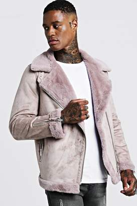 BoohoomanBoohooMAN Mens Pink Faux Fur Lined Suede Aviator, Pink