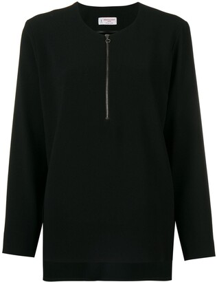 Alberto Biani Zip Front Flared Blouse