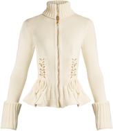 Alexander McQueen Lace-up side wool knit cardigan