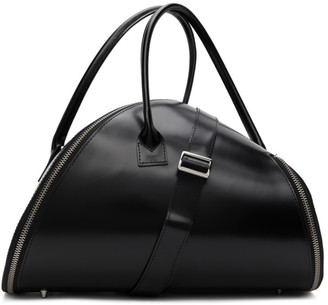 Junya Watanabe Black Leather Diagonal Zip Duffle Bag
