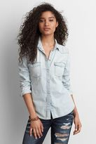 American Eagle Outfitters AE Solid Western Boyfriend Shirt