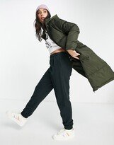 Thumbnail for your product : Brave Soul cello maxi longline puffer coat in khaki