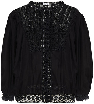 Charo Ruiz Ibiza Cala Crocheted Lace And Cotton-blend Voile Blouse