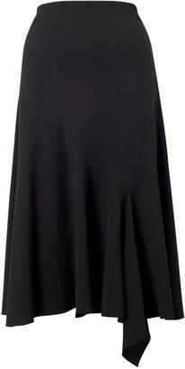 Chesca Flared Moss Crepe Skirt, Black