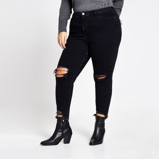 River Island Womens Plus Black ripped Molly mid rise jeans