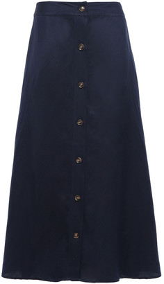 Iris & Ink Ellika Button-detailed Twill Midi Skirt