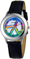JCPenney RED BALLOON Red Balloon Kids Peace Black Leather Strap Watch