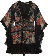 Roberto Cavalli Lace-up Ruffled Printed Silk-georgette Mini Dress - Black