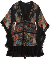 Roberto Cavalli Lace-up Ruffled Printed Silk-georgette Mini Dress - IT40
