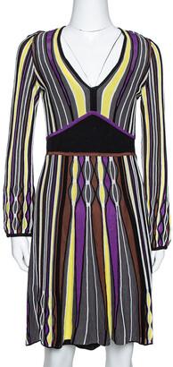 M Missoni Grey Striped Rib Knit Knee Length Dress M