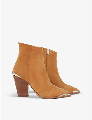 The Kooples Western pointed-toe suede ankle boots