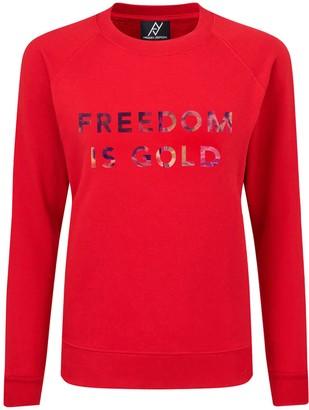 Angelika Jozefczyk Sweatshirt Freedom Is Gold Hologramic Red